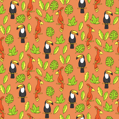 tucan: Seamless pattern with parrots and tucans. Vector illustration