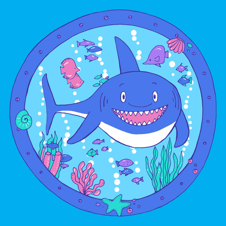porthole: A shark in a porthole. Underwater life. Vector illustration Illustration