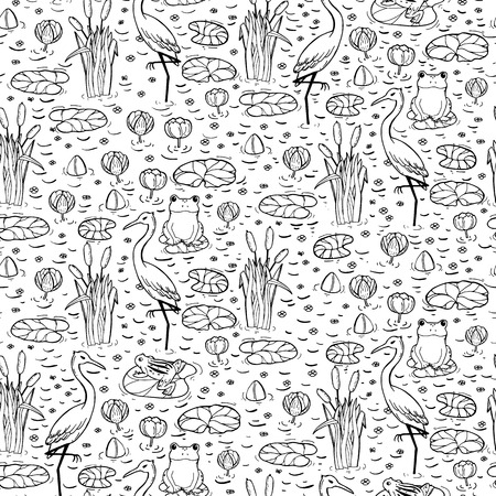 anuran: Seamless pattern with canes, herons and lillies. Swarm life. Vector illustration