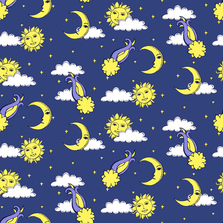 presage: Seamless alchemy pattern with suns, moons, comets and clouds in the night sky. Vector illustration.