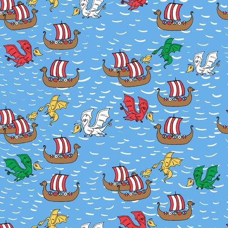 Seamless pattern with dragon attacking viking ships. Vector illustration