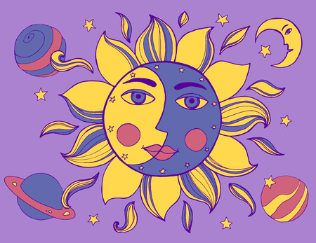 arcane: Sun and moon in one face. Alchemy vector illustration