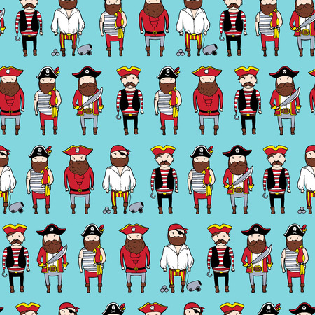 Seamless pattern with different curte bearded pirates. Vector illustration