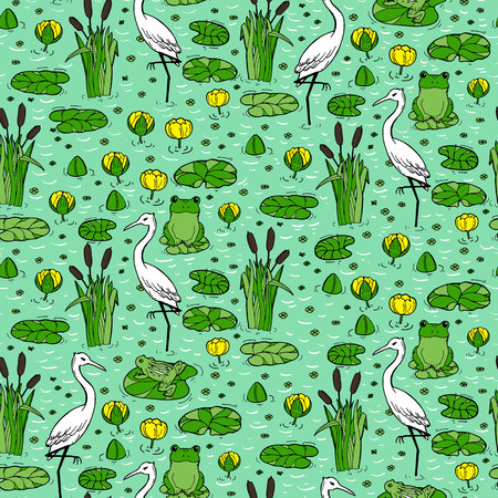 Seamless pattern with canes, herons and lillies. Swarm life. Vector illustration