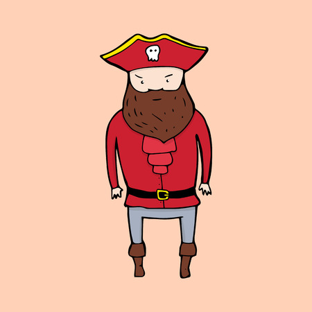swindler: Cute pirate in sketch style. Vector illustration Illustration