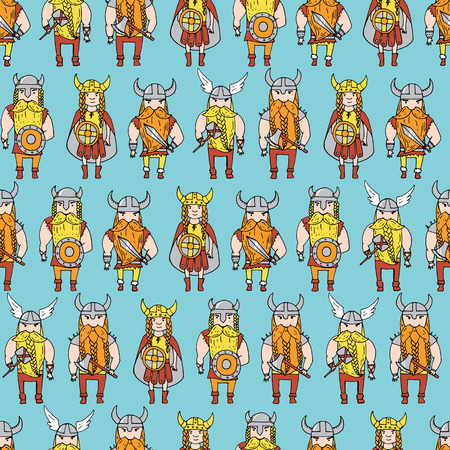 intimidating: Seamless pattern with grumpy dangerous vikings. Vector illustration