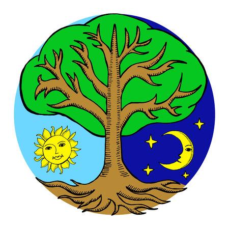 Árbol de alquimia con un sol y una luna desde diferentes lados de ella. Noche y dia. Ilustración vectorial