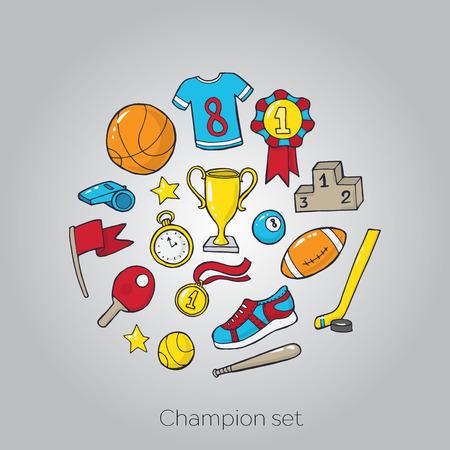 raquet: Set of sport equipment. Vector illustration