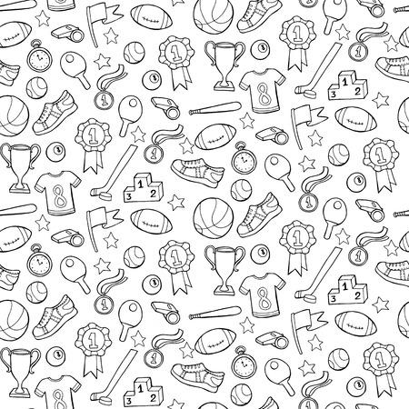 raquet: Seamless pattern with sport equipment. Vector illustration Illustration