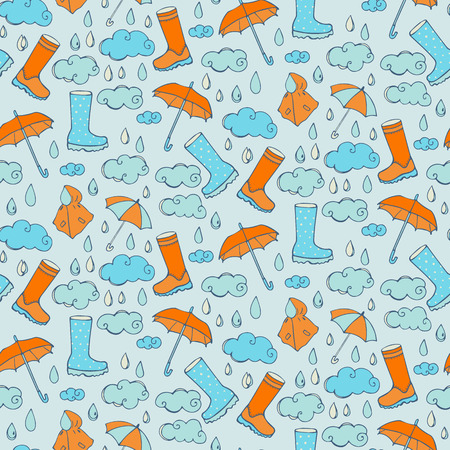 windstorm: Seamless pattern with rainy weather Illustration