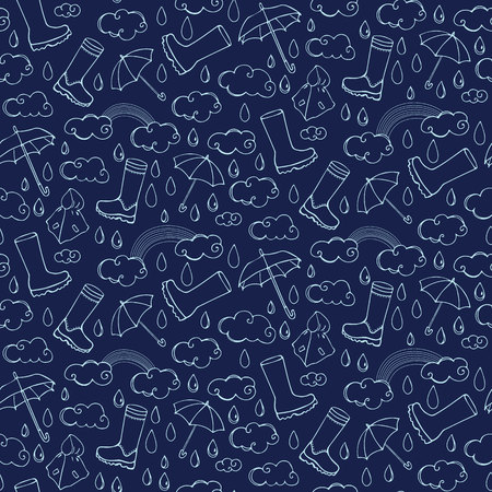 sprinkling: Seamless pattern with rainy weather Illustration