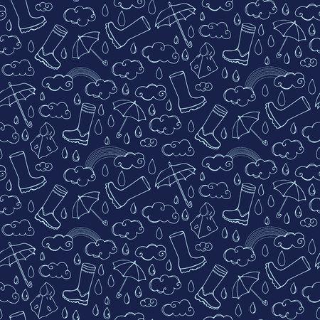 Seamless pattern with rainy weather Illustration
