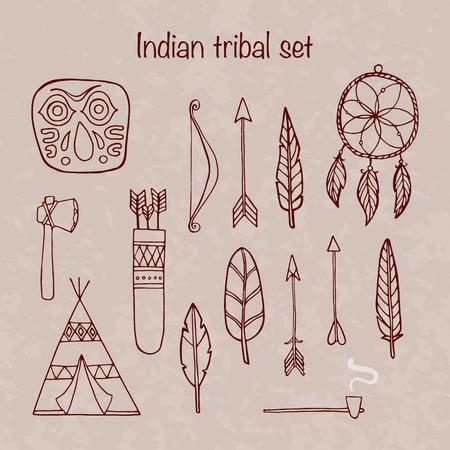 tepee: Set of indian tribal elements Illustration
