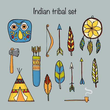 ethnographic: Set of indian tribal elements Illustration