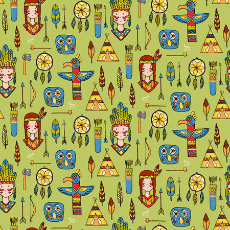 chieftain: Seamless pattern with indian tribal elements