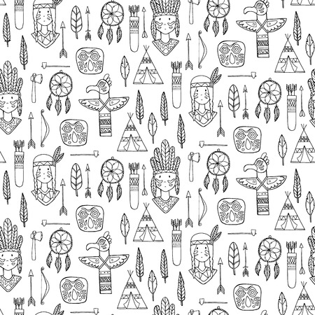 tepee: Seamless pattern with indian tribal elements