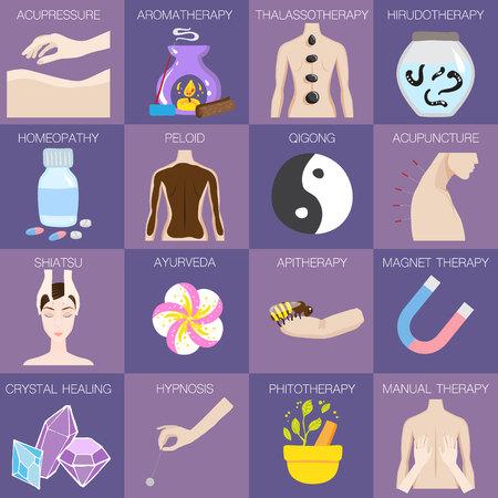 Ensemble d'illustrations vectorielles de différents types de médecine alternative