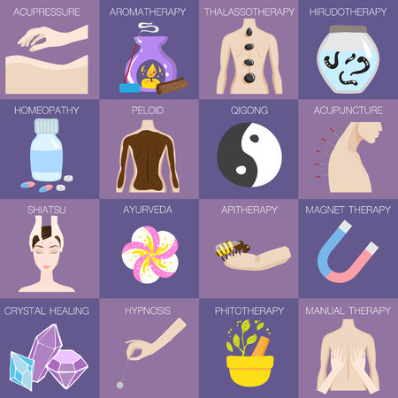 Set of vector illustrations of different kinds of alternative medicine