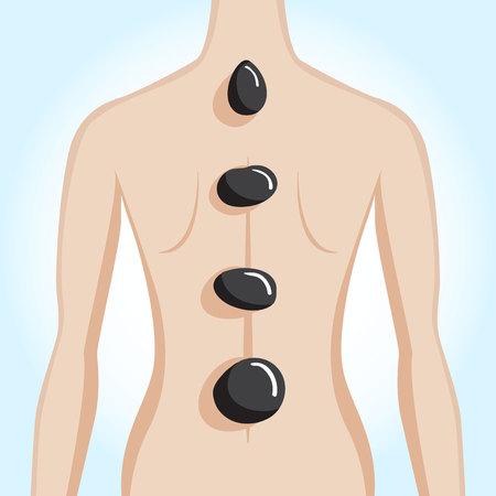 revitalize: Womans back having spa stone treatment. Vector illustration Illustration