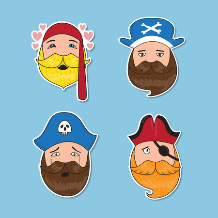 swindler: Set of emotional pirates. Different emotional faces. Vector illustration. Illustration