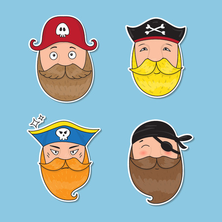 hijack: Set of emotional pirates. Different emotional faces. Vector illustration. Illustration