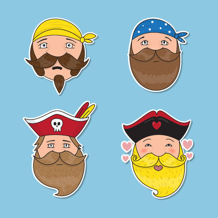 chieftain: Set of emotional pirates. Different emotional faces. Vector illustration. Illustration