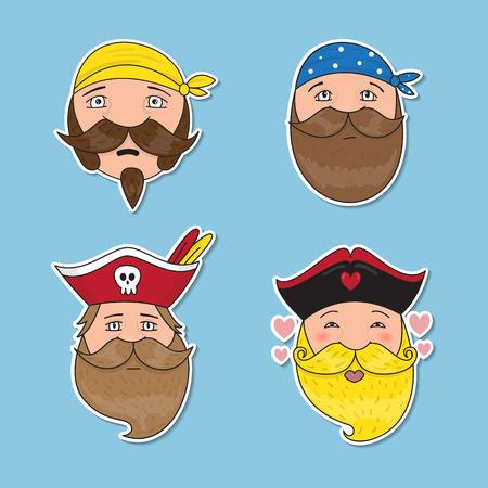 seaway: Set of emotional pirates. Different emotional faces. Vector illustration. Illustration