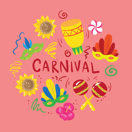 Set of elements about brazilian carnival. Vector illustration