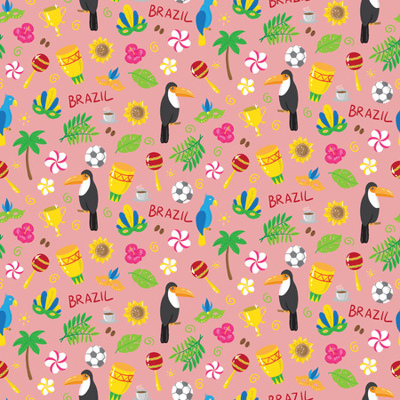 Seamless pattern with brazilian elements. vector illustration