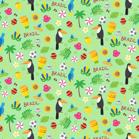 conviviality: Seamless pattern with brazilian elements. vector illustration