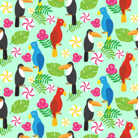 Seamless pattern with tropical brazilian tucans and parrots. Vector illustration