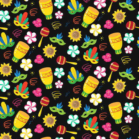 revelry: seamless pattern with brazilian carnival elements. Vector illustartion Illustration