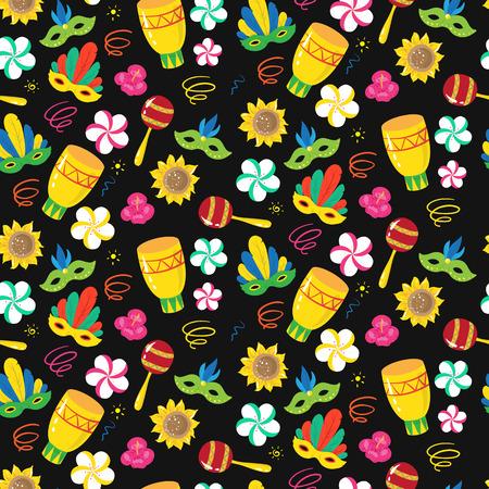 seamless pattern with brazilian carnival elements. Vector illustartion Illustration