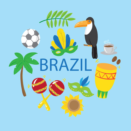 Set of brazilian elements. Vector illustration