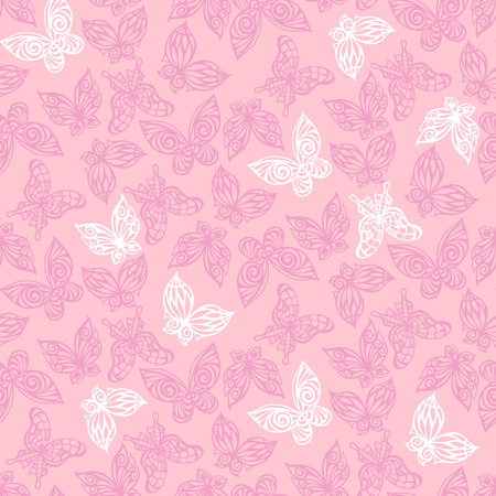flit: Seamless pattern with doodle stylize different butterflies. Vector illustration