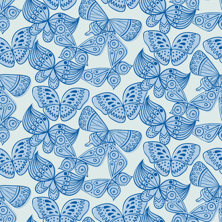to flit: Seamless pattern with doodle stylize different butterflies. Vector illustration