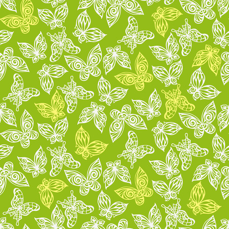 Seamless pattern with doodle stylize different butterflies. Vector illustration