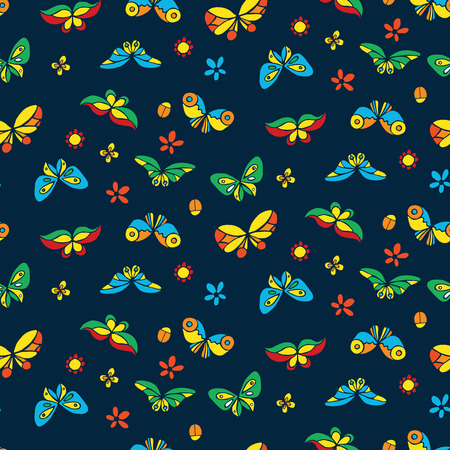 stylize: Seamless pattern with colorful stylize butterflies. Vector illustration Illustration