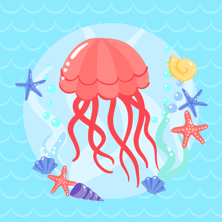 lop: Cute  jellyfish with seastars and shells. Vector illustration