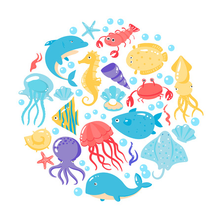 Set of different sea animals in cute cartoon style. Vector illustration Illustration