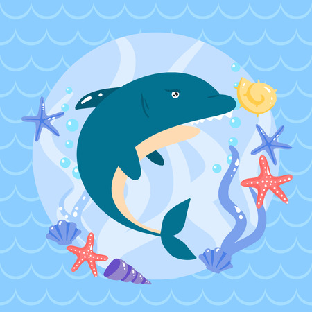 lop: Cute shark with seastars and shells. vector illustartion