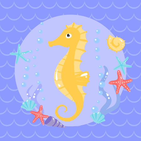 lop: Cute sea horse with seastars and shells. vector illustration Illustration