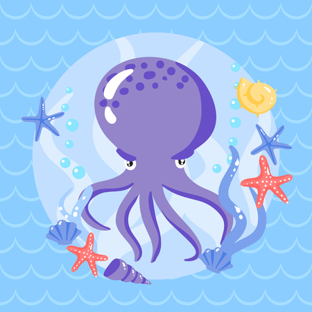camber: Cute putple octopus with seastars and shells. Vector ullustration