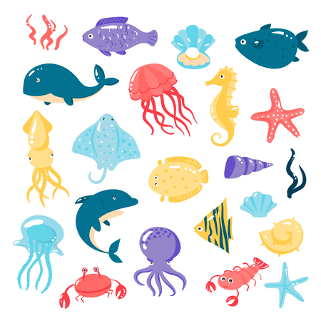 flounder: Set of different sea animals in cute cartoon style. Vector illustration Illustration