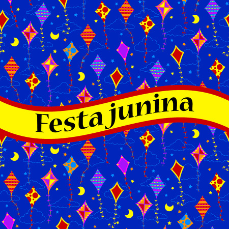 flit: Festa unina celebration card with kites. Vector illustration