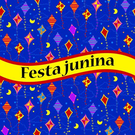 Festa unina celebration card with kites. Vector illustration