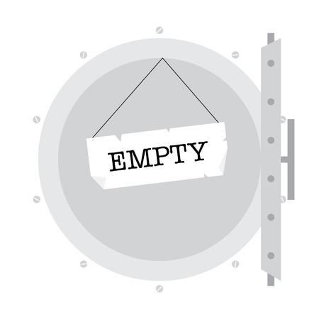 indebtedness: Illustration od economy crysis. Empty safe.