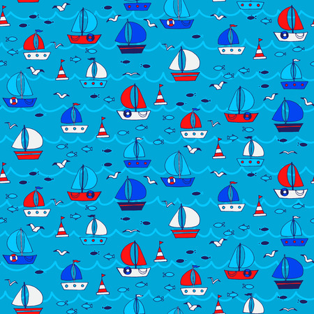 lop: Seamless pattern with boats and ships in the sea. Vector illustration. Illustration