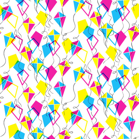 teeter: Seamless pattern with different  transparent kites. Vector illustration