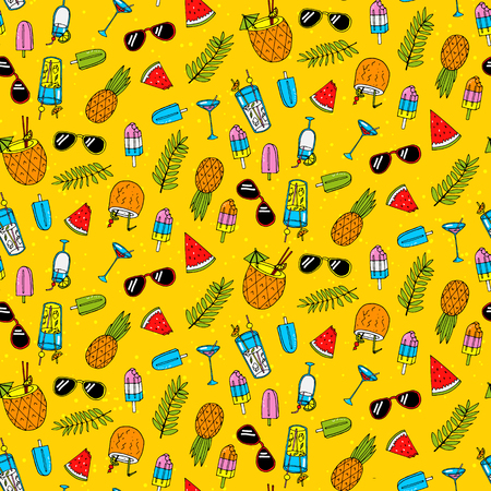 Seamless pattern with different summer cocktails. Vector illustration Ilustracja